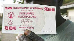A 500 million dollar bill in Zimbabwe