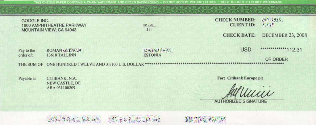 First Google Adsense Check for www.FinancialJesus.com