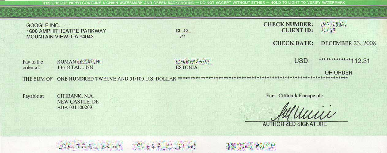 how to write a check without cents