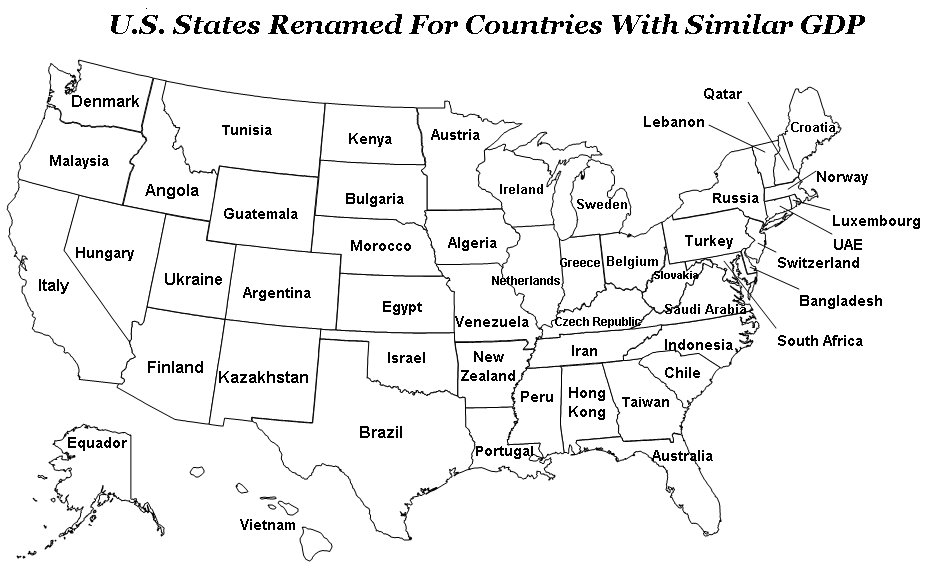 States Of USA Renamed As Countries With Similar GDP Financial Jesus - Us map gdp countries