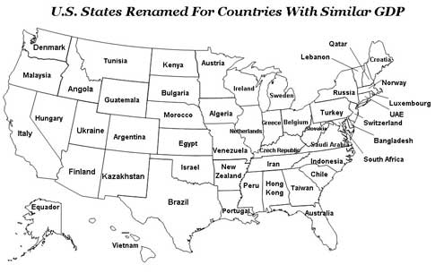 States of USA renamed as countries with similar GDP