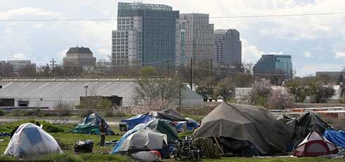 tent city in Sacramento, California